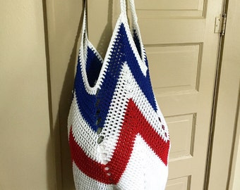 Tote bag - crochet market bag - beach bag - crochet tote - ecofriendly - free shipping - red white and blue bag