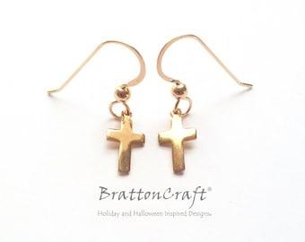 Small Gold Cross Earrings - Gold Easter Earrings - Gold Christian Earrings - Dainty Cross Earrings - Gold Cross Jewelry