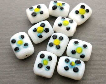 White with Dots Lampwork Glass Rectangle Beads | Set of 10 Pieces