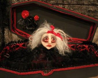 "Handmade OOAK Art Doll, ""Lisette"", Broken Souls Art Dolls, Polymer Clay Doll, Creepy Doll, Dead Doll, Coffin, Sad Doll, Collector Doll"