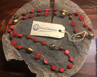 Necklaces Handmade Multi stone hand wired Czech glass vintage lucite red gold