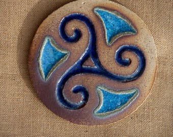 Trivet triskell - Triskell table mat in stoneware and glass