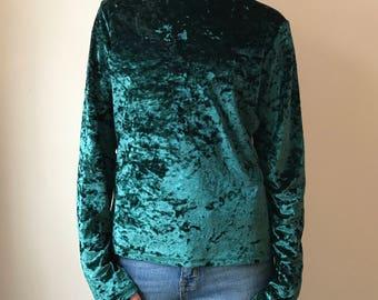 vintage Aqua Blues emerald velvet green mock turtleneck