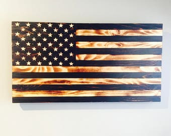 35X20 Handcrafted Wood American Flag