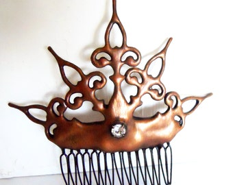 Copper Steampunk Hair Comb made w clock hands with crystal Noir Victorian inspired distressed Antique Copper color perfect bride wedding