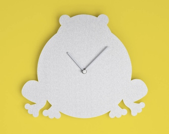 FROG - Wall clock made of matte aluminium featuring a funny little frog shape.