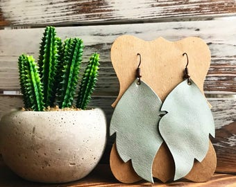 Leather Leaf earrings - Sea Glass