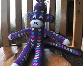 Purple Sock Monkey with Multi-Colored Hearts