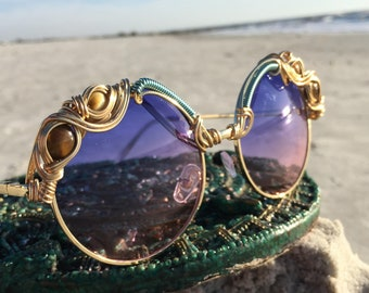 PURPLE Round Eyewear Eyeglasses Sunglasses / Tigers Eye Wire Wrap Sunnies Glasses  / Festy Festival Shades Festival Outfit Festival Clothing