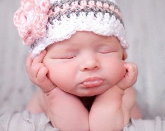Chapeau bébé fille, prêt à expédier, nouveau-né Photo Prop, chapeau pour bébés, chapeau enfants, Coming Home, chapeau au Crochet, nouveau cadeau de bébé, bébé fille