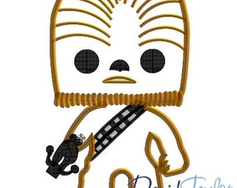 Pop Star Wars Chewbacca - 4x4, 5x7 and 6x10 in 9 formats - Applique - Instant Download - David Taylor Digitizing