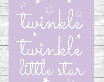 Twinkle Twinkle Little Star Nursery Decor Wall Art Digital Print ~ Girl Bedroom ~ Lavender ~ Digital Instant Download Print