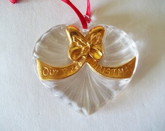 """Gorham """"Our First Christmas"""" Ornament, Heart Shaped Crystal Glass, Decorated Gold Bow, Made in Germany"""