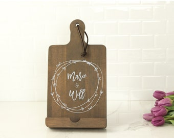 Personalized Kitchen Tablet Holder - Brown Gray Wood
