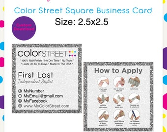 Square business card etsy color street business card square reheart Gallery