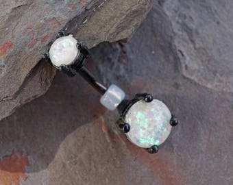 White Opal Belly Button Ring Prong Set