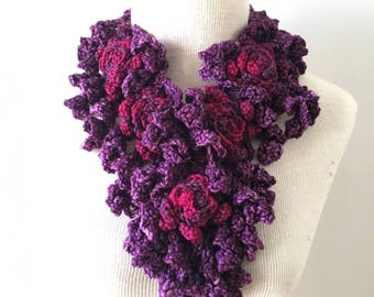 Rose Onie Scarf Special Edition in purple, pink, Rose Scarf, READY to SHIP, one only, scarfSculptured Lace Scarf