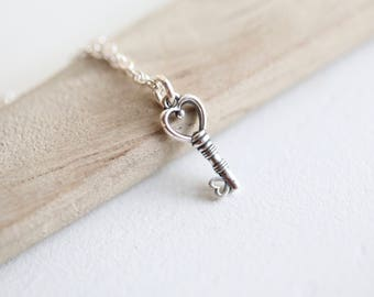 Key Necklace, Tiny Key Necklace, Silver Key Necklace, Dainty Key Necklace, Minimalist Necklace, Key to My Heart Gift for Girlfriend