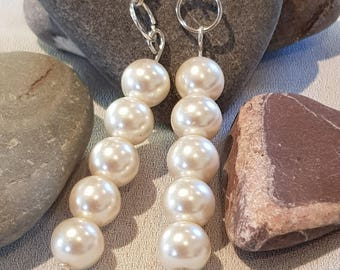 Simulated Pearl Dangle Earrings, Sterling Silver or Filled Gold