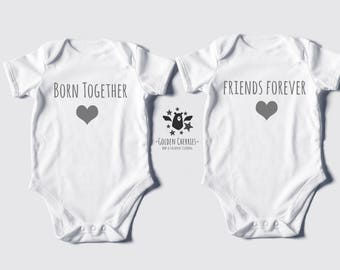 """Twins One Pieces /Bodysuits or T-shirts """"Born Together"""" """"Friends Forever"""""""