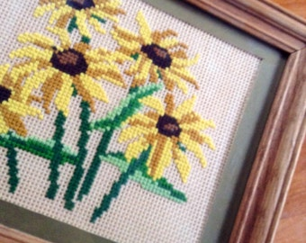 Vintage Black-Eyed Susan Daisy Floral Cross Stitch Embroidery Framed Picture- Needlepoint Cottage, Shabby, Farmhouse, Flea Market Decor