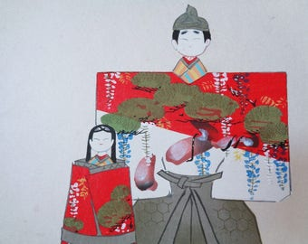 VJ534 : Painting on a shikishi board,Old Japanese watercolor/ink painting on a shikishi board''Hina-Matsuri dolls'' ,Artist sign