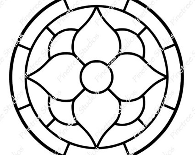 Stained Glass Flower (Round) SVG Digital Download / Cuttable / Clip Art / Stencil / Silhouette / Cricut / Printable / Color Book / Decal