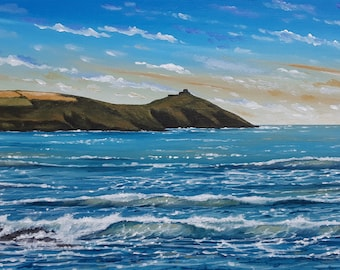 Rame Head - Cornish Seascape - Whitsand Bay near Looe - Framed Original Acrylic Painting - 66 x 31cm