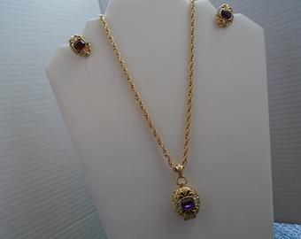 Locket Necklace With Matching Clip Screw Back Earrings With Rhinestones