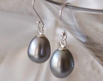 Grey Pearl Drop Earrings (ERO08 - box) ~ Wedding, Anniversary, Bridesmaid, Birthday Earrings
