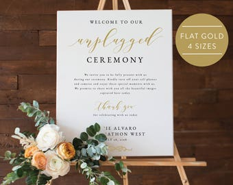 Gold Unplugged Wedding Sign-Unplugged Ceremony Sign-Unplugged Wedding-Unplugged Sign-Gold Wedding Sign-PDF Instant Download -SN029_UC Gold