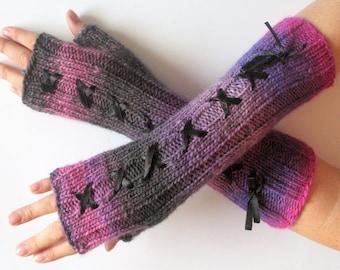 Corset Fingerless Gloves Mittens Gray Pink Purple Arm Warmers Wool