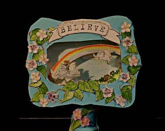 3-D Original Art Diorama Believe- Elephants Flying in a Rainbow Sky in an Altoids Box