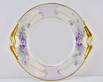 Antique Limoges Gold Lilac Cake Plate by Bernardaud