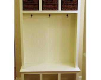 """44"""" Wide Beadboard Hall Tree with Storage Cubbies - Entryway Furniture - Storage Locker - Coat Rack - Mudroom - Cubby"""