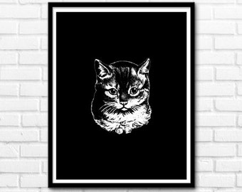 Cat Print, Printable Cat, Black And White Prints, Animals, Wall Decor, Modern Nature Decor, Prints, Wall Decor INSTANT DOWNLOAD - 1056