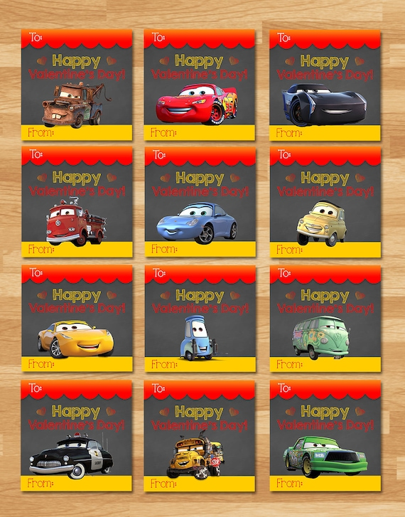 Disney Cars 3 Valentine's Day Cards - Chalkboard - Cars School Valentines - Cars 3 Printables - Cars 3 Party Favors - Cars Valentine
