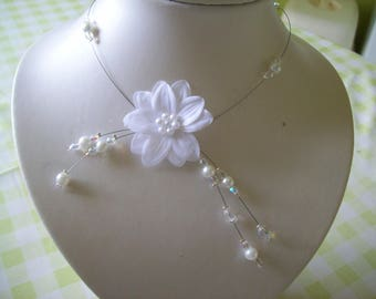 Wedding bridal evening necklace white pearls and transparent ceremony Christmas white satin flower