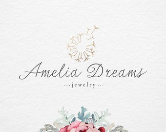 Gold Elegant dandelion logo , Small business logo, Photography logo, Watermark