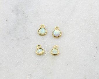 1 Piece Tiny Organic Shape Opal Round Circle Gold Vermeil Drop Bezel Charm 7mm x 5mm Gemstone Gold Rimmed Pendant
