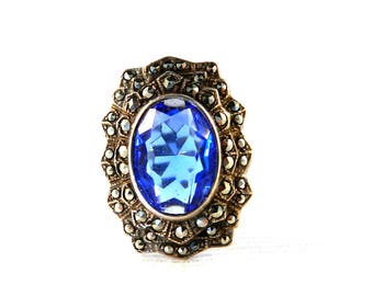 Vintage Art Deco Sterling Silver Blue Sapphire Ring - Gatsby Era - Marcasites Bezel Set - Oval Cut Glass 3 Carats Size 7 1/2 - Signed UNCAS