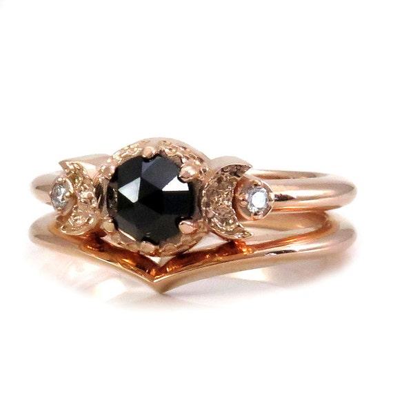 Black Diamond and Rose Gold Engagement Ring Set - Triple Moon Goddess Stacking Rings