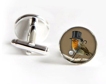 Dandy Bird Cufflinks steampunk silver 18mm cuff links Gifts for him