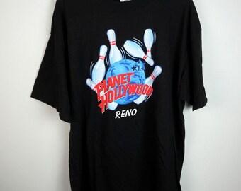 Vintage Planet Hollywood Reno Bowling Pins T-Shirt Men's XL Made In USA Las Vegas Nevada 90s Fashion VTG Vintage Tee