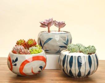 Set of 3 - Japanese Style Ceramic Planter Set for Succulent, Mini Planter, Ceramic Planter, Ceramic Pot, Mini Pot,Home Decor,Gardening Tools