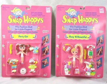 Snap Happys Fashion Dolls Party Girl Busy n Beautiful Galoob Vintage 1989 New