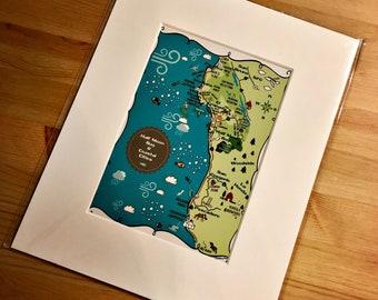 Half Moon Bay Map Art Print