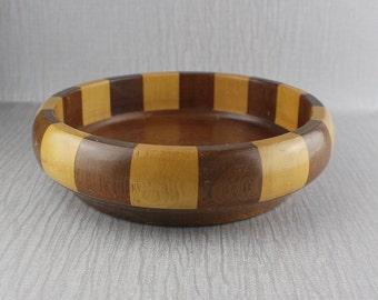 Vintage Turned Wooden Bowl from Mixed Woods Lightly Varnished Finish Cork Base