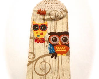 Owls Hand Towel With Aran Crocheted Top