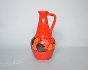 Retro orange / red West German Bay keramik vase - 67  30